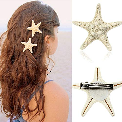 Hisumb Fashion Lady Daily Simple Natural Starfish Duckbill Hair Clip (Earrings Mini Starfish)
