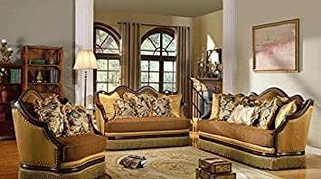 Formal Traditional Antique 3 Piece Sofa Loveseat U0026 Chair Cherry Wood Trim  Nailheads Living Room Furniture Part 61
