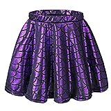 TFJH E Kids Baby Girls Dance Tutu Skirt Bling Fish Scale Stretch Tutu Dress Purple Skirt L