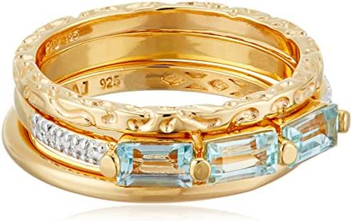 18k Yellow Gold Plated Sterling Silver Genuine Sky Blue Topaz Baguette 3 Piece Stacking Ring, Size 7