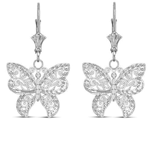 (Elegant Sterling Silver Filigree & Sparkle-Cut Butterly Earrrings)