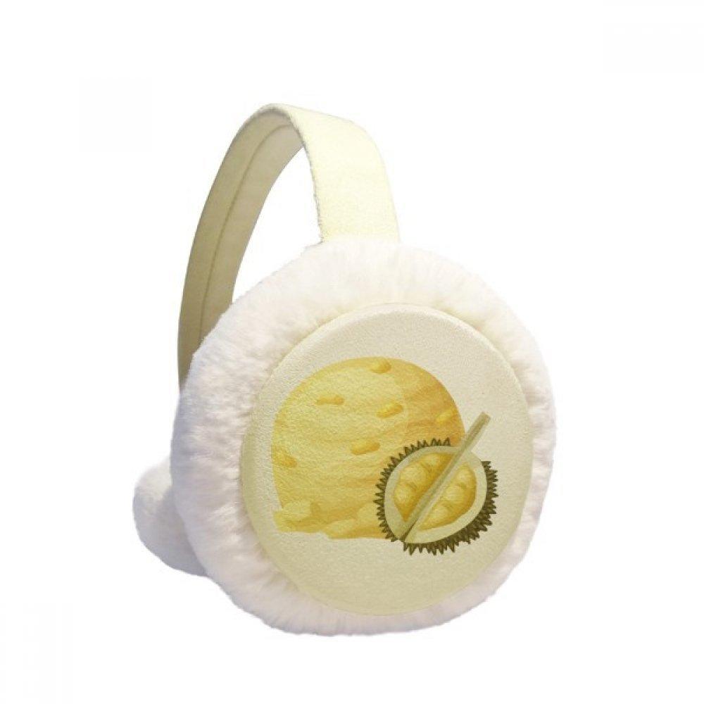 Yellow Durian Ice Cream Ball Popsicles Winter Earmuffs Ear Warmers Faux Fur Foldable Plush Outdoor Gift
