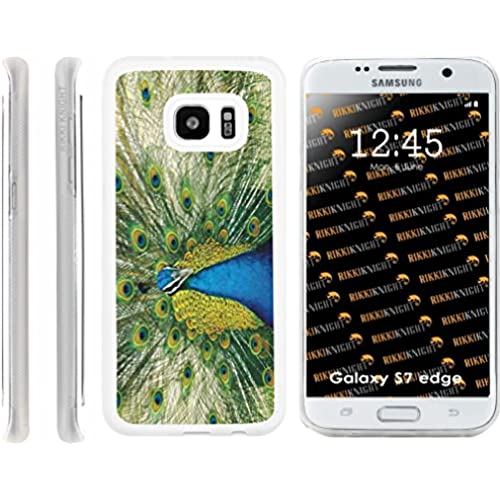 Rikki Knight Peacock Design Samsung Galaxy S7 Edge Case Cover (Clear Rubber with front Bumper Protection) for Sales