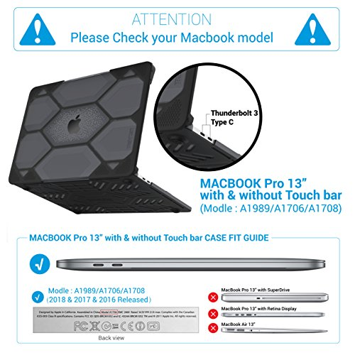 iBenzer Hexpact Heavy Duty Protective Case for MacBook Pro 13 inch with/Without Touch Bar A1989/A1706/A1708 Released 2018 2017 2016, Black LC-HPE-T13CYBK by iBenzer (Image #2)