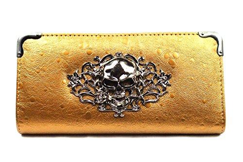 Skull Pattern Zip Around Women Wallet Lady Purse Handbag