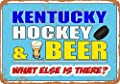 Wall-Color Vintage Look Metal Sign - Kentucky Hockey and Beer