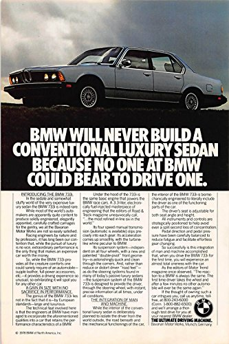 Print Ad 1978 Bmw Car Will Never Build A Conventional Luxury Sedan