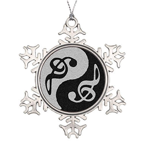Dozili Best Friend Snowflake Ornaments yin yang Music Clave Note Custom Snowflake Ornament Small Artificial Christmas Trees -
