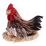 MonkeyJack Fun Animated Chicken Hen Laying w/ Egg on Nest Animal Figurine Model Figure Kids Toy Home Decor S