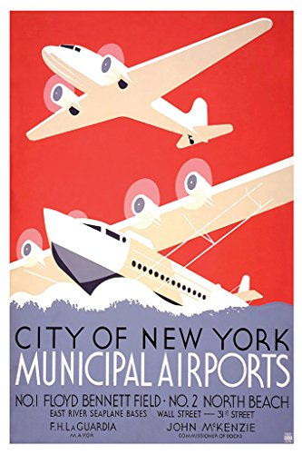 (City of New York Municipal Airports Vintage Travel Art Print Poster 12x18 inch)