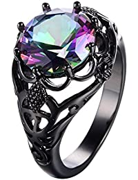 Round Cut Black Gold Mystic Big Rainbow Topaz Solitaire Ring Engagement Wedding Size5/6/7/8/9/10/11