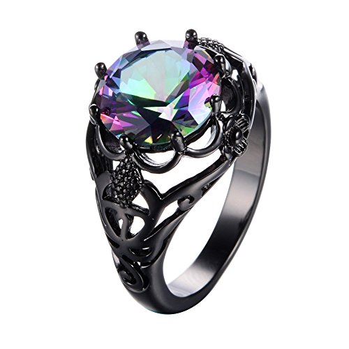Junxin Round Cut Black Gold Mystic Big Rainbow Topaz Solitaire Ring Engagement Wedding Size7