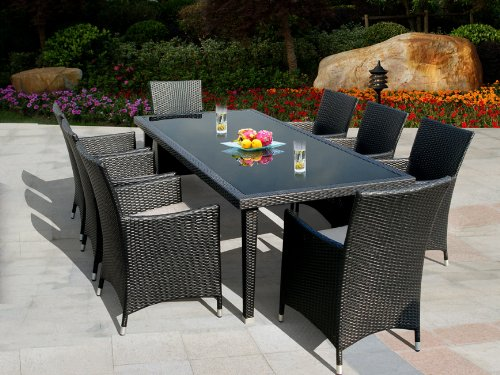 Genuine Ohana Outdoor Patio Wicker Furniture 9pc All Weather Dining Set with Free Patio Cover