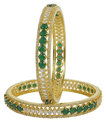 MUCH-MORE Brilliant Design Diamond Swarovski Gold Plated Elements Indian Bollywood Bangles/Bracelets Cubic-Zirconia Jewelry (289, 2.4)