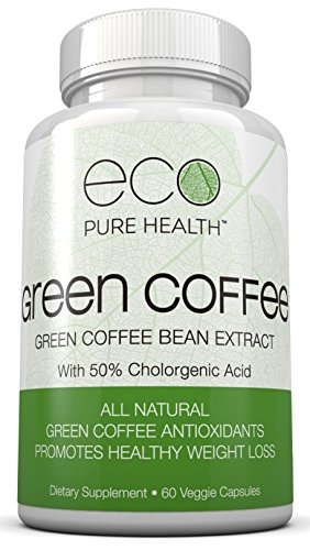 Eco Pure Health Green Coffee Bean Extract - Pure Natural Appetite Suppressant - 50% Chlorogenic Acid - 60 Veggie Capsules