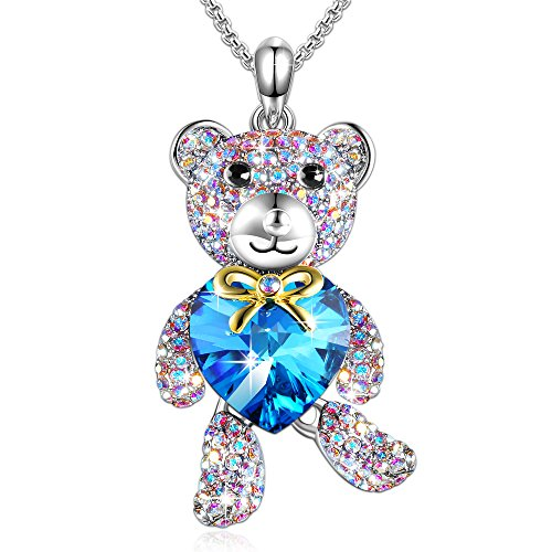 GEORGE · SMITH ♥Brother Bear♥ Animal Necklace Blue Heart Teddy Pendant Necklace with Crystals from Swarovski, Birthday Gifts for Daughter Teen Girls - About Pendant Flower Swarovski Question