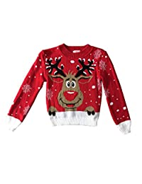 AEL Kids Childrens Christmas Jumper Xmas Girls Boys Retro Rudolph Winter Sweater