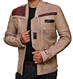 fjackets Star Wars Finn Jacket - Real Antique Beige Leather Jacket For Gift XL