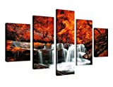 fall pictures - Large Canvas Wall Art Waterfall Fall Forest Nature Pictures - 5 Pieces Canvas Art Red Trees Canvas Painting Contemporary Artwork for Home Decoration Framed Ready to Hang