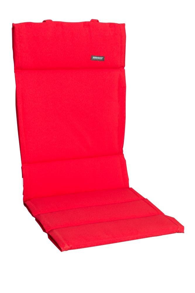 6 Stück MADISON Dessin Panama Sitzpolster, Sitzauflage für Gartensessel niedrig, Niedriglehner 75% Baumwolle, 25% Polyester, 100 x 50 x 4 cm, in rot
