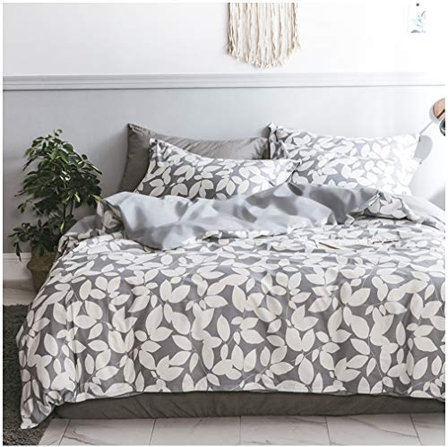 Eikei Home Modern Geo Leaf Print Cotton Quilt Duvet Cover Navy Light Blue Reversible Geometric Floral Leaves Outline Pattern Bedding Set Minimalist Garden Bloom Design (Queen, Grey)