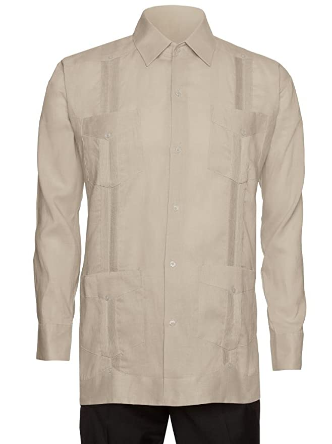 1930s Style Mens Shirts 100% Linen Guayabera Shirt $34.99 AT vintagedancer.com