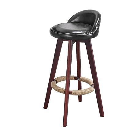 American Solid Wood Bar Chair European Bar Chair Retro Stool Backrest Front Desk Bar Chair High Stool Bar Furniture Elegant Appearance