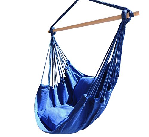 Busen Hammock Hanging Rope Chair Sky Air Hammock Swing Chair Porch Chair with Stand Cushioned Seat