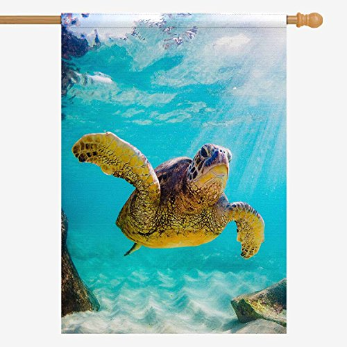 InterestPrint Decorative Flag Hawaiian Green Sea Turtle in the Sea Water House Flag House Banner for Wishing Party Wedding Yard Oxford Cloth Home Decor 28'' x 40'' (Without Flagpole) by InterestPrint