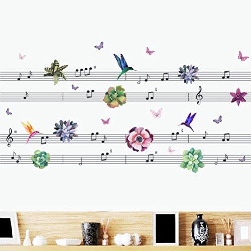 BIBITIME Music Staff Wall Decal Dancing Butterflies Singing Hummingbird Vinyl Sticker Green Plants Flower PVC Decor for Living Room Kitchen Shop Store Window DIY 49