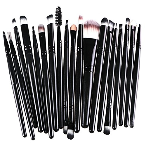 KOLIGHT Pack of 20pcs Cosmetic Eye Shadow Sponge Eyeliner Eyebrow Lip Nose Foundation Powder Makeup Brushes Sets (Pure Black)