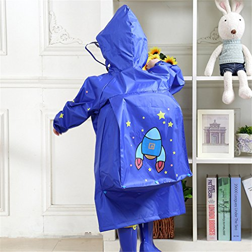 WYTbaby Kids Raincoats, Boys Girls Hooded Rain Poncho with School Bag Position,Blue by WYTbaby (Image #5)