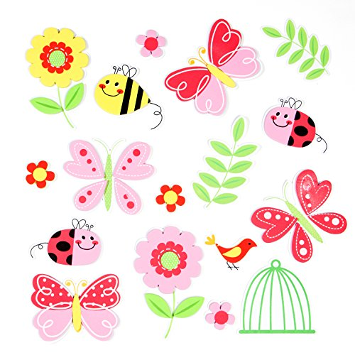 17 Count Premium Butterflies, Ladybugs, and Flower 3D Foam Stickers -