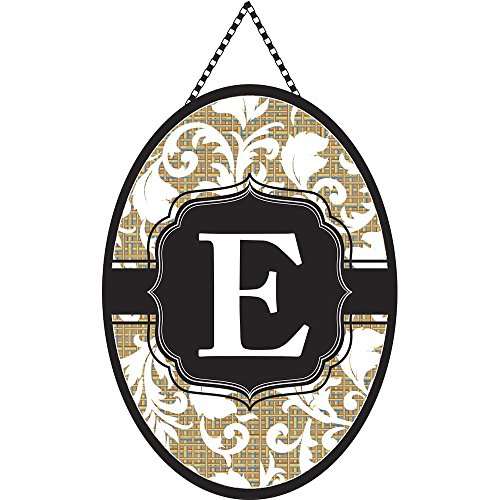 Monogram Letter E Shield with White Filigree on Burlap 18 x 13 Oval Chain Rope Door Banner