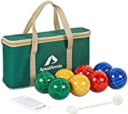ApudArmis Bocce Balls Set, Outdoor Family Bocce Game for Backyard/Lawn/Beach - Set of 8 Poly-Resin Balls &