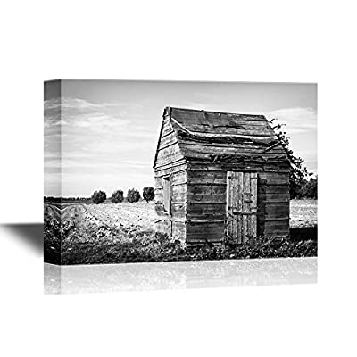 Canvas Wall Art - Wood Hut in The Field in Black and White - Gallery Wrap Modern Home Art | Ready to Hang - 12x18 inches