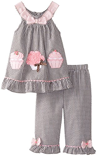 Rare Editions Baby-Girls Infant Brown/Pink Cupcake Applique Seersucker Dress/Capri Set, Brown, 18 Months, BBNI ()