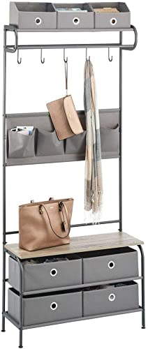 mDesign Coat Rack and Bench Organizer System Storage Unit, 5 Hooks Holds Jackets, Scarves, Purses – 4 Pockets – Hallway, Entryway, Bedroom – Dark Gray Gray