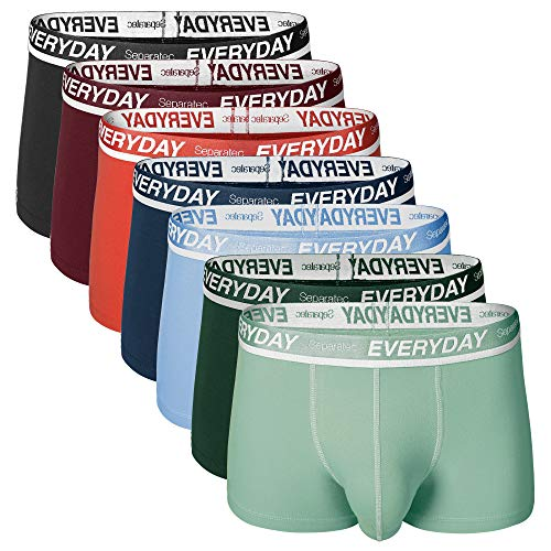 Separatec Men's Cotton Stretch Underwear 7 Pack Colorful Separate Pouches Trunks(M,Assorted Colors)