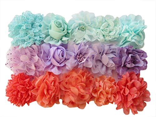 YYCRAFT 15pcs Large Chiffon Hair Flower for Girls DIY Headband Crafts,Baby Shower Party Decoration(3