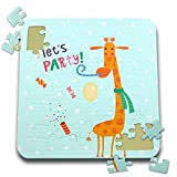 Uta Naumann Sayings and Typography - Cute Baby Safari Giraffe Typography On Blue Polkadots - Lets Party - 10x10 Inch Puzzle (pzl_275544_2)