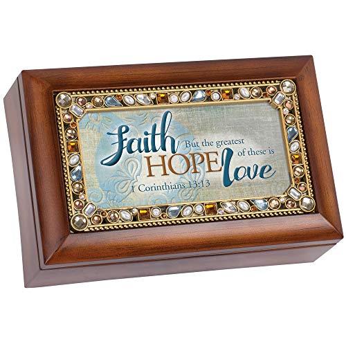 Cottage Garden Faith Hope Greatest is Love Woodgrain Jewelry Music Box Plays His Eye On The Sparrow