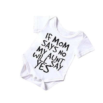 sakure recién nacido bebé niño Niña blanco algodón Pelele de manga corta Carta impresión mono body