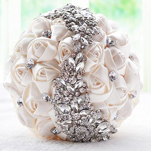 Ziye Shop Handmade Romantic Diamond Pearl Rhinestone Brooch Bridal Artificial Wedding Bouquet of Flower (Ivory)