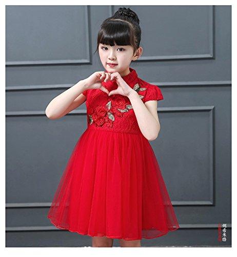 H/ÖTER Summer Girls Kids Traditional Chinese Style Lace Embroidered Cheongsam Qipao Princess Yarn Dress