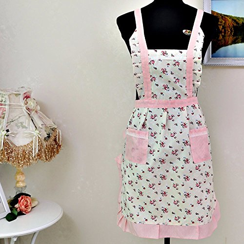 Tuscom Simple White Pink Floral Fashion Pocket Cotton Apron Dress|for Kitchen Christmas Holiday Party Apron Decoration| Hem 70cm Length 76cm Waist Width 52cm (White) ()
