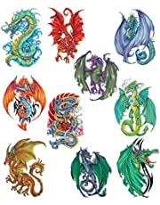 Fantasy Dragons Temporary Tattoos, Set of 10 Colorful Dragon Tattoos