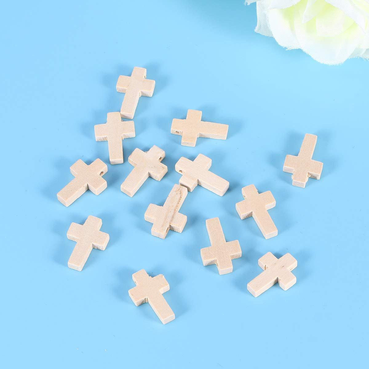 SUPVOX Rosario in Legno a Forma di Croce per Artigianato 50 Pezzi