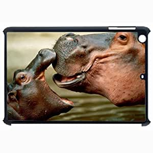 Customized Back Cover Case For iPad Air 5 Hardshell Case, Black Back Cover Design Hippo Personalized Unique Case For iPad Air 5