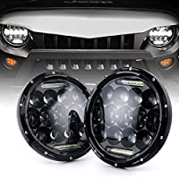 "Xprite 7"" Inch Round 75W 9000 Lumens Hi/Lo Beam Cree LED Headlights With Daytime Running Light (DRL) For Jeep Wrangler JK TJ LJ 1997-2018 (DOT Approved)"